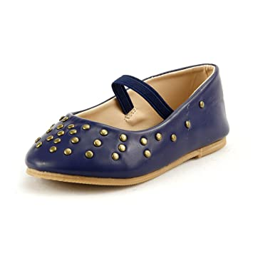 ad18805cec444 Amazon.com : Girl's Stylish Flat Shoes with Studs Elastic Strap 3 ...