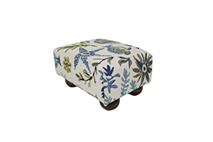 quality design ffab4 e4223 Ocean Life in Blue Nautical Upholstered Fabric Footstool