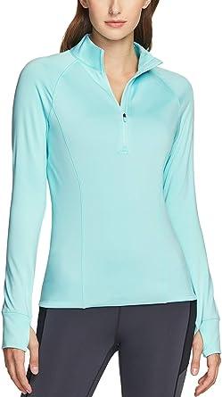 TSLA Womens 1//2 Zip Thermal Pullover Shirts Lightweight Slim Fit Athletic Fleece Lining Winter Running Sweatshirt