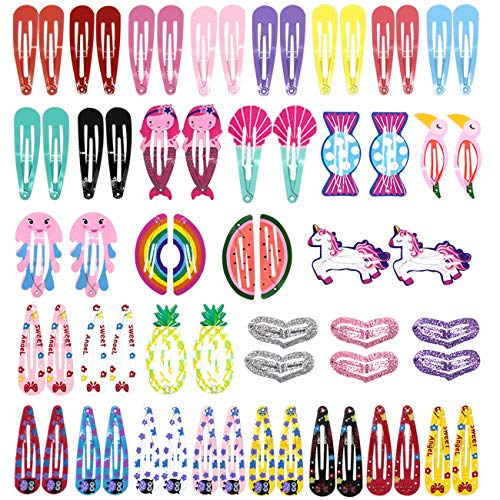 64 Pieces Cute Girls Hair Clips Barrettes Set Kids Cartoon Design Metal Snap Hairpins Hair Accessories for Girls Toddler Kids (Letter File Safe Color)