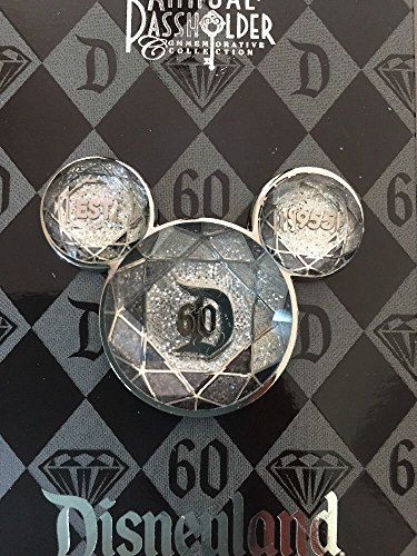 Disneyland 60th Anniversary Diamond Celebration Annual Passholder Exclusive Mickey Ears Icon Trading Pin (Ears Mickey Icon)
