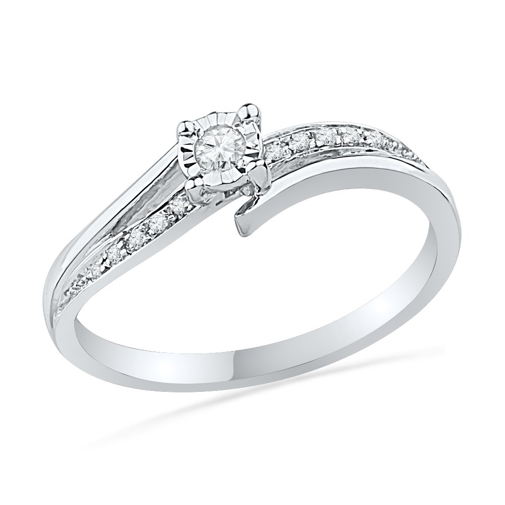 10KT White Gold Round Diamond Bypass Promise Ring (1/10 cttw),size 7.5