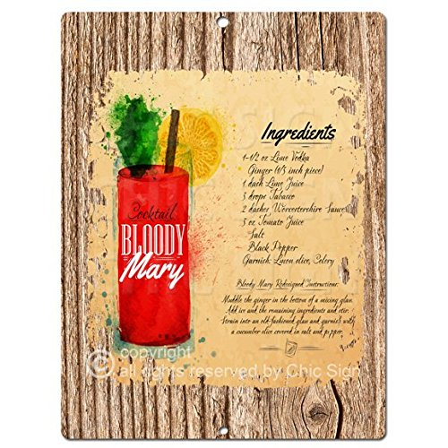 Para cóctel Bloody Mary Chic Kitchen rústico Tropical diseño Retro ...