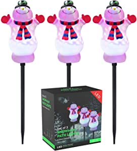 Snowman Christmas Pathway Lights Outdoor, Waterproof iTrunk Christmas Decorations Lights LED Garden Landscape Lights for Indoor, Outdoor, Yard, Walkway, Lawn, Patio, Snow-Proof 16ft Energy Saving