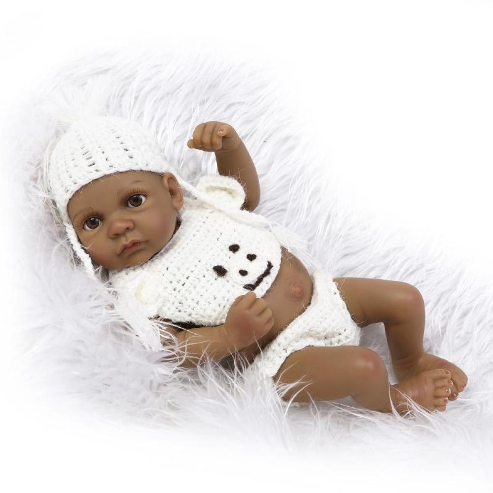 QXMEI Baby Renacimiento Muñeca De Silicona 11 Pulgadas 28 Cm Impermeable Juguete Beige Suéter Negro Niño Renacimiento Bebé Muñeca