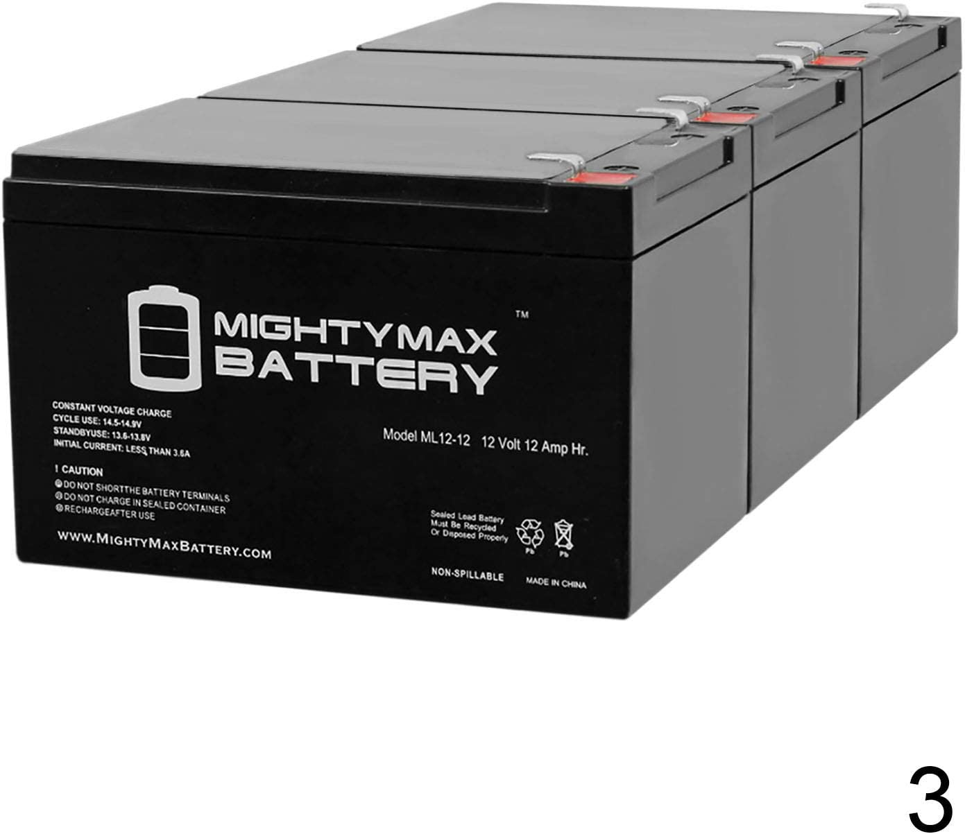 3 Pack Brand Product Mighty Max Battery 12V 12AH Compatible Battery for APC BP6501PNP BP650C BP650S