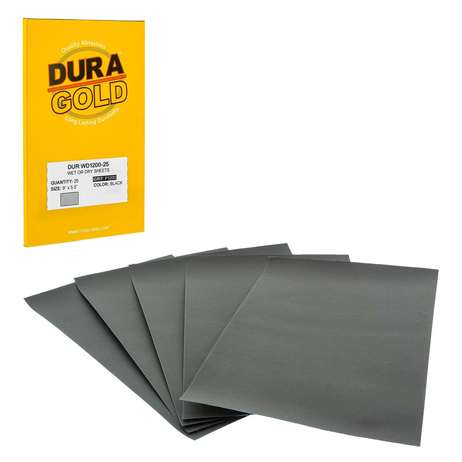 Professional Cut to 5-1//2 x 9 Sheets Variety Pack 150, 220, 320, 400, 600 Automotive Woodworking Crafts -Box of 25 Sandpaper Finishing Sheets 5-Each of Dura-Gold Premium Wet or Dry