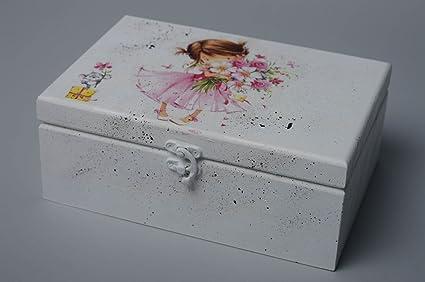 Caja de madera para joyas con decoupage