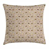 FunnyLife Coffee Throw Pillow Cushion Cover, Polka Dotted Background with Heart Motifs Cups Doughnuts Doodle Design, Decorative Square Accent Pillow Case Brown Pale Brown Taupe