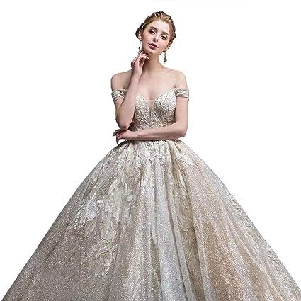 Vestido de novia Resistente con un Solo Hombro, Corte con Cola Grande Princesa Sueño con