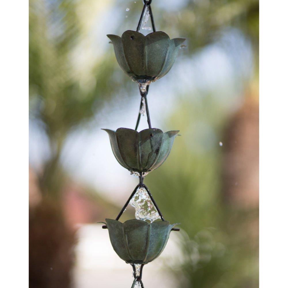 Monarch Pure Copper Lotus Rain Chain, 8-1/2 Feet Length (Green Patina)