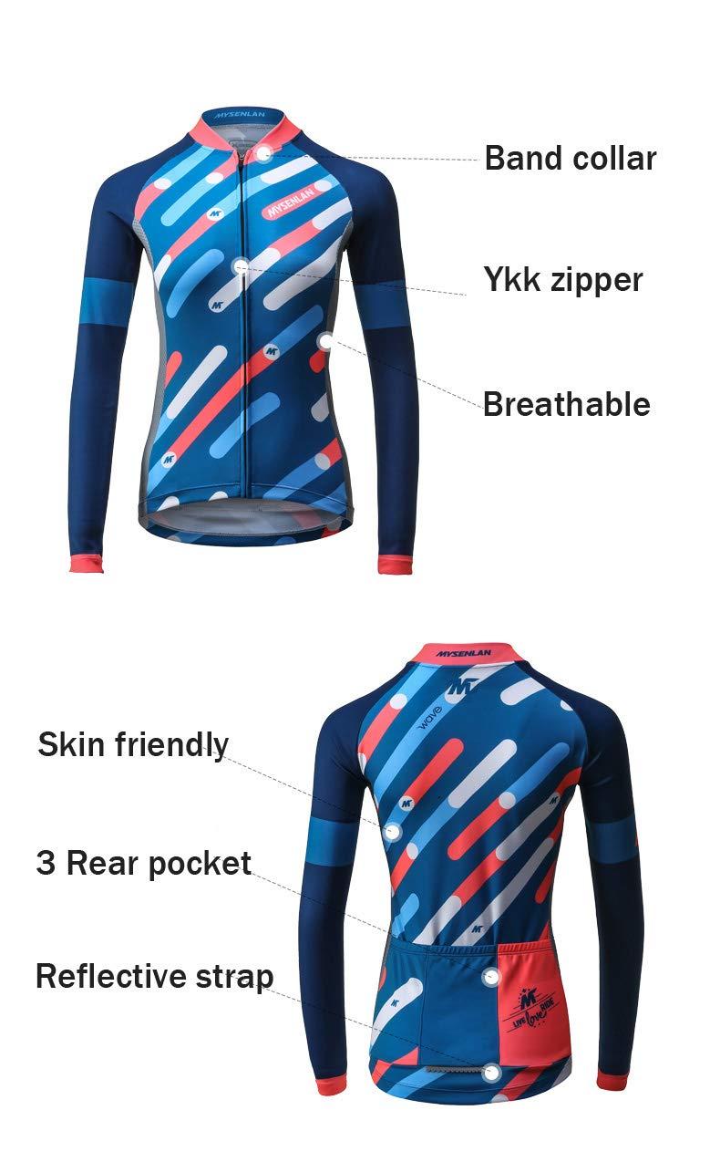 Mysenlan Abbigliamento Ciclismo Maglia da Donna Manica Lunga per Bici con Pantaloni 3D Imbottiti Cycling Jersey Set