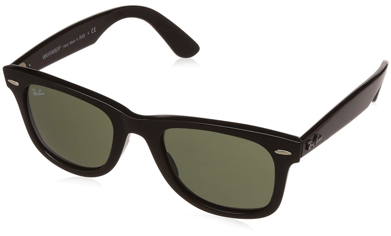 44329aa7aa0479 Amazon.com  Ray-Ban Wayfarer Non-Polarized Iridium Square Sunglasses BLACK  50 mm  Clothing