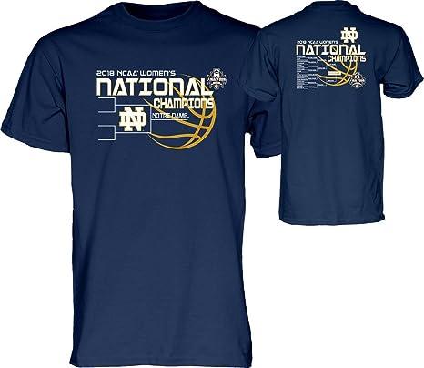 17d4f00b819f Elite Fan Shop Notre Dame Fighting Irish National Champs T Shirt Womens  Basketball 2018 Navy Bracket