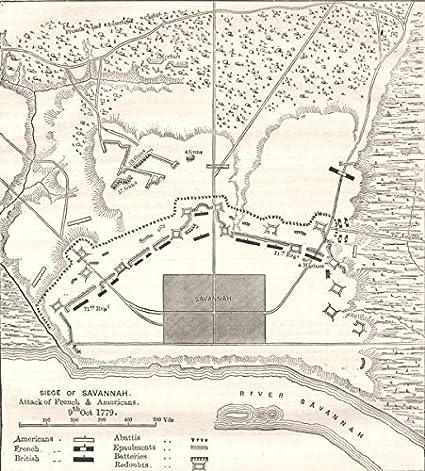 Amazoncom Georgia Plan Of Position Before Savannah C1880 Old - Savannah-on-us-map