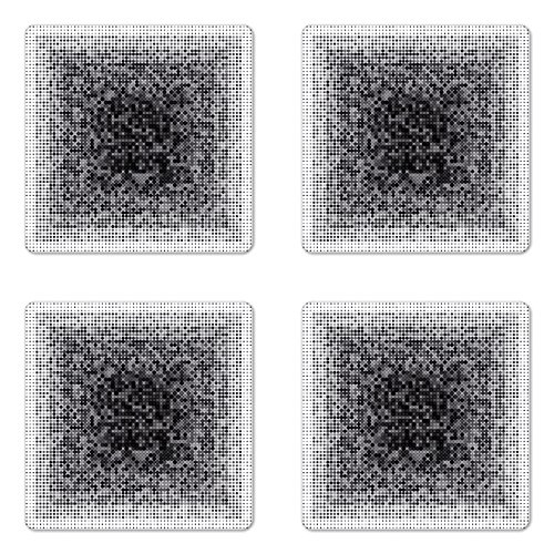 Techart Glass - Lunarable Modern Art Coaster Set of Four, Digital Futuristic Pixel Tech-Art with Dots Spots Artificial Abstract Pattern, Square Hardboard Gloss Coasters for Drinks, Grey Black