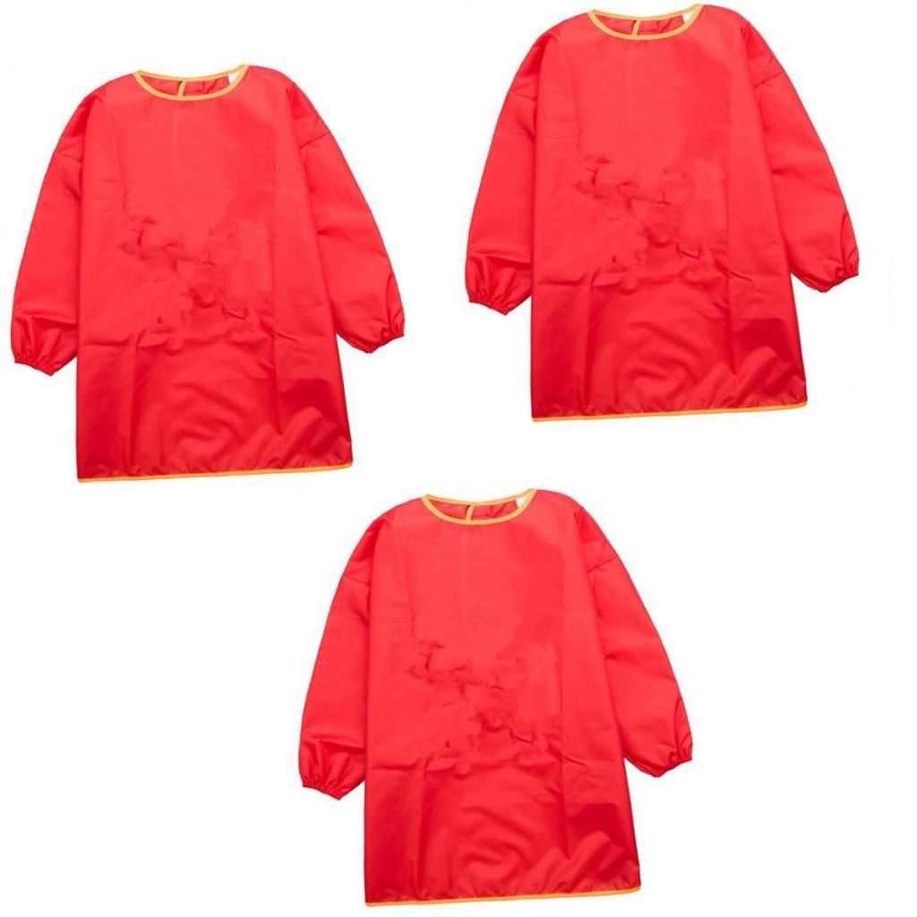 Sharplace Child Kids Long Sleeve Apron Drawing Painting Waterproof Smock S+M+L Red