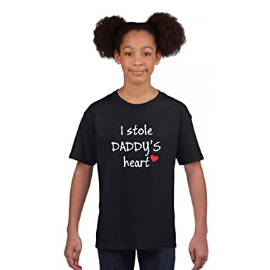 3d7e20dd3 YaYa cafe I Stole Daddys Heart Kid Girl Cotton T-Shirt for Daughter - Black