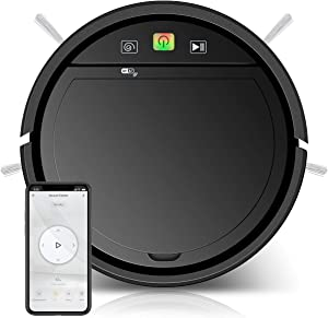 Robot Vacuum Cleaner with WiFi App Wet Mop Smart Sweeping Cleaning Robot for Pet Hair Wooden Tile Cement Laminated Floors Short-Haired Rug Carpet Robot Sweeper Machine 1200Pa Suction Anti-Fall Sensors