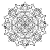 Lotus Mandala - Coloring Canvas - Meditation - 20x20 Gallery Wrapped Canvas Wall Art B&W