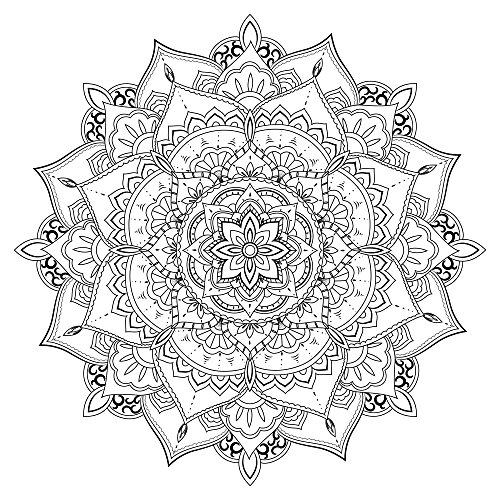 Lotus Mandala - Coloring Canvas - Meditation - 20x20 Gallery Wrapped Canvas Wall Art B&W by ArtsyCanvas