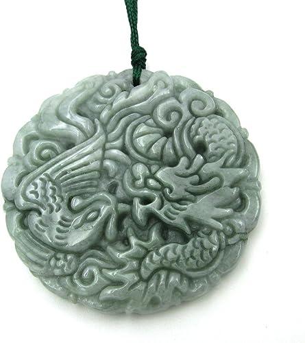2 p Natural Jade Lovers Pendant Dragon phoenix jade statue Amulet Collection