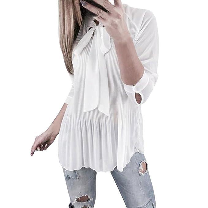Camicie Manica Lunga Donna,Yesmile Maglie Donna Bluse e Camicie Magliette Manica Lunga V Collo Casual Elegante Shirt Top Bello