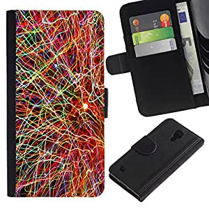 Planetar® Modelo colorido cuero carpeta tirón caso cubierta piel Holster Funda protección Para Samsung Galaxy S4 IV I9500 ( Física de Partículas Explosión Neutrón Ciencia )
