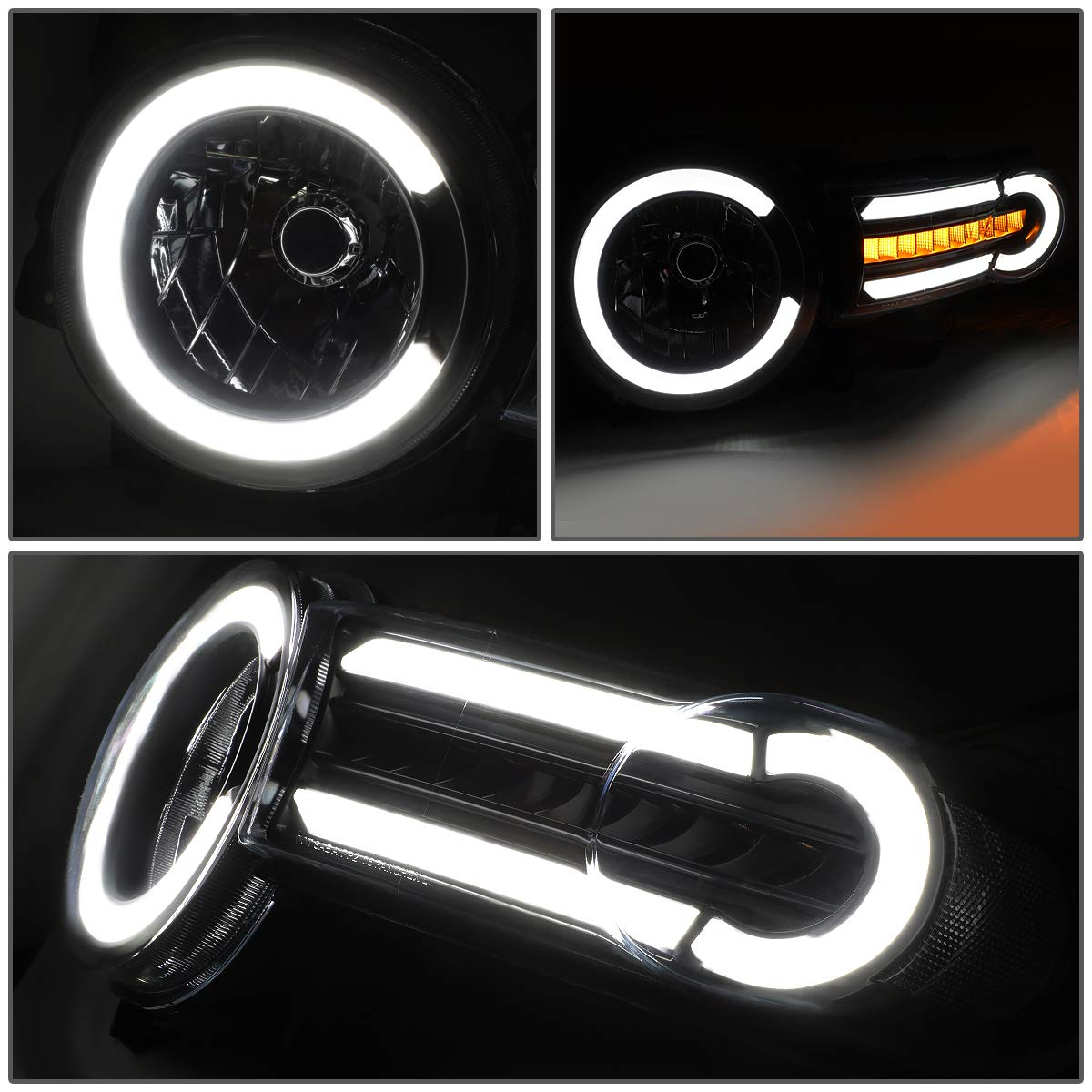 DNA MOTORING HL-LB-FJC07-BK-CL1 Pair LED DRL+Sequential Chasing Turn Signal Headlight Lamps Set