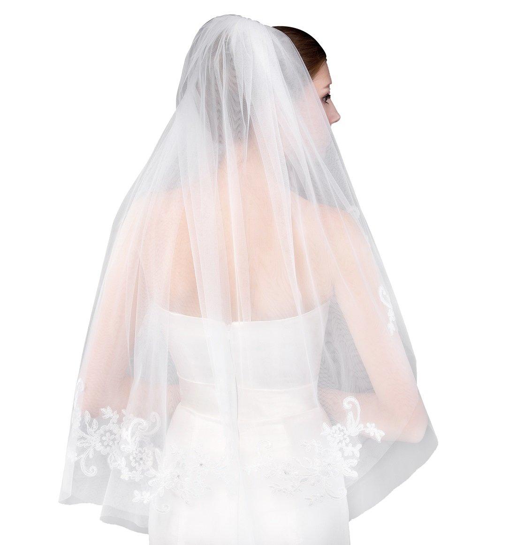 EllieHouse Women's Short 2 Tier Lace Ivory Wedding Bridal Veil With Comb L21IV