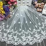 White Transparent mesh embroidery flower voile lace trim applique DIY clothing accessories silk for Dress Edge curtain Decor Wedding Dress Tulle lace Trim