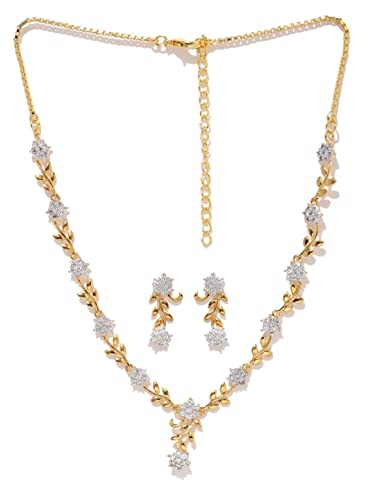 Buy Zaveri Pearls Sparkling CZ Diamond with Leafy Design Necklace Set for  Women - ZPFK5425 Online at Low Prices in India  122134d55a4a