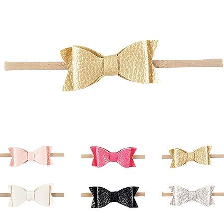 b256e159ecea0f sukisuki Baby Mädchen Haarband Stirnband Leder Schleife elastischer  Schleife Haar Zubehör: Amazon.de: Baby