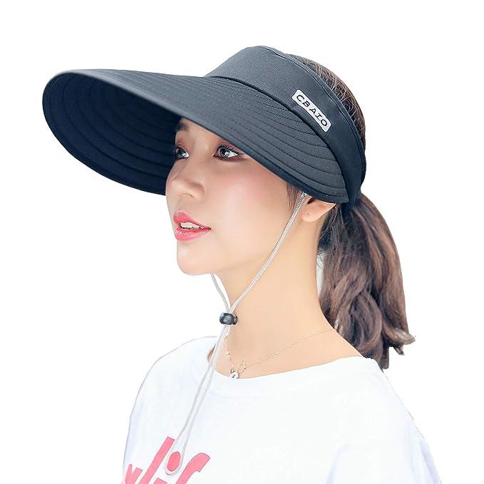 cf8ce37468a Wide Brim Sun Hat UV Protection Beach Cap Floppy Roll Up Visor for Women  Black