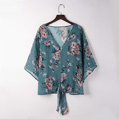 ❤ Blusa del Vendaje de Las Mujeres, Moda para Mujer con Cuello en V de impresión Media Manga Camiseta Blusa Tops Absolute: Amazon.es: Ropa y accesorios