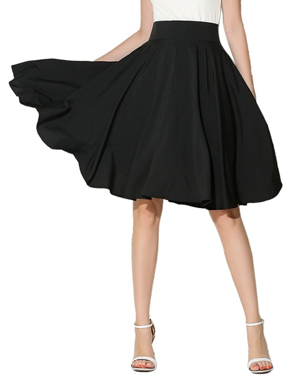 CHOiES record your inspired fashion Women's Casual Plain High Elastic Waist Plus Size Midi Skater Skirt 1x