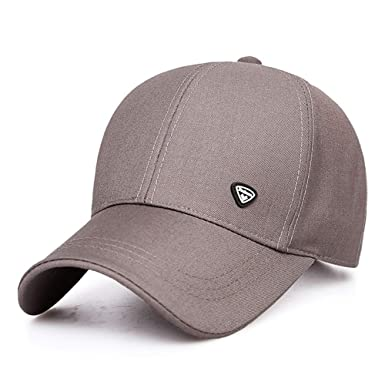 8f495fdac11 Men Logo Patch Baseball Cap Simple Adjustable Crooked Wide Brim Sunshield  Hat Sport Cap for Motor Racing Fishing Biker Hiking Tennis Hip Pop B018  (Color ...