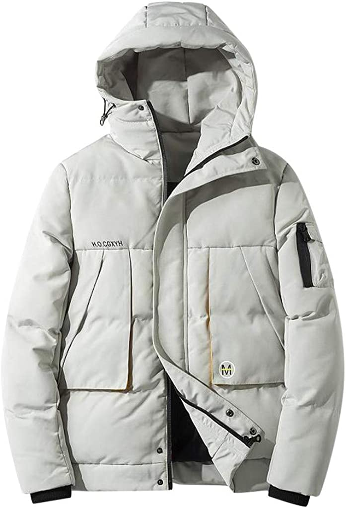 GREFER-Mens Classic Fit Loose Zip Hooded Coats Winter Thicken Packable Light Down Jackets with Pockets