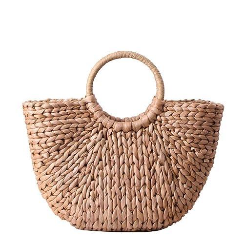 Erouge Straw Bag Handmade Weave Tassels Handbag Multiple Decoration Options Hobo Bags by Erouge