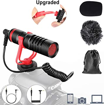iPad GoPro for Canon Nikon Sony Camcorders Mac Universal Video Microphone Directional Audio Recording Mic for iphone Upgraded Shock Mount Camera Microphone for DSLR and Smartphone iOS Android