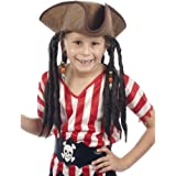 Accessories - Child's Carribbean Pirate Captain Hat with Beads and Attached Fake Dreadlock Hair. This Accessory is the Perfect Addition to Any Swashbuckling Fancy Dress Costume. One Size is Suitable for All Children. (gorro/ sombrero)
