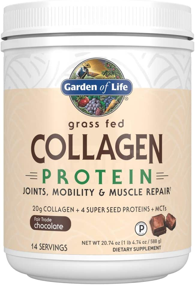 Garden of Life Grass Fed Collagen Protein Powder - Chocolate, 14 Servings, Collagen Powder for Joints Mobility Muscle Repair, Collagen Peptides Super Seeds Coconut MCTs, Keto Collagen Supplements