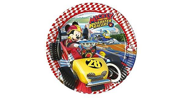8 platos * Mickey Roadster * DE Disney para fiestas de cumpleaños infantil o temática//Fiesta Party - Platos Plates temática Ratón Mickey Mouse coches ...