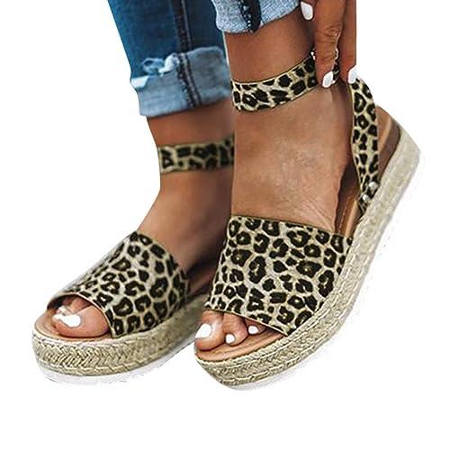 Sandalias para Mujer Verano 2019 Plataforma Cuña PAOLIAN Sandalias Esparto Playa Tacon Medio Grueso Casual Fiesta Zapatos Alpargatas Vestir Elegantes Tallas ...