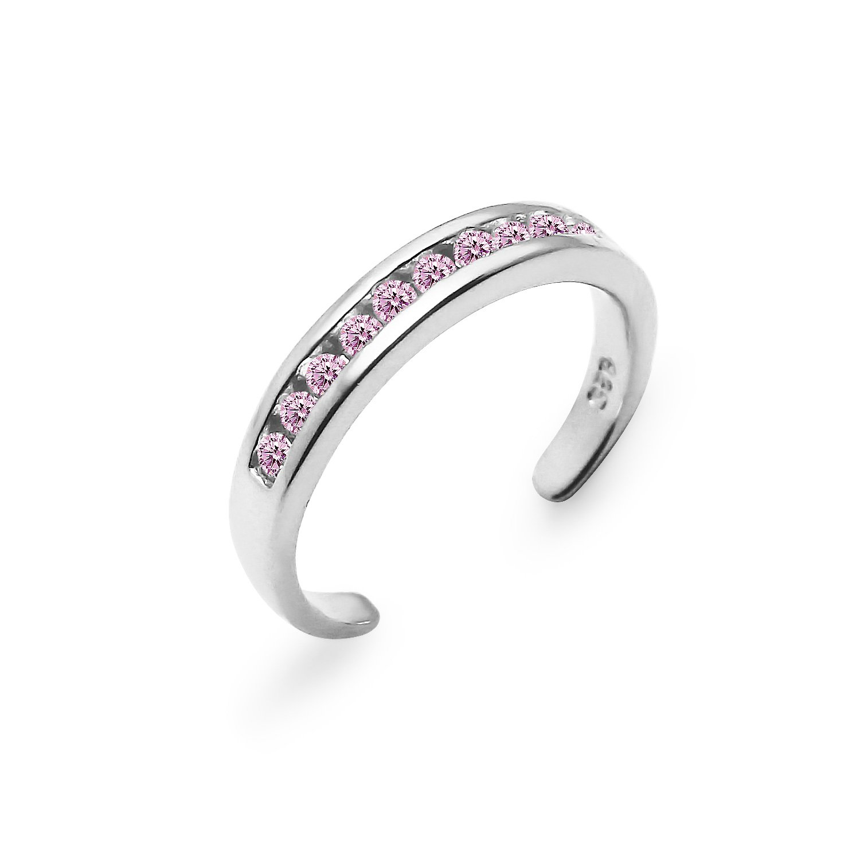 Sterling Silver Channel Cubic Zirconia CZ Sparkling AdjustableToe Ring