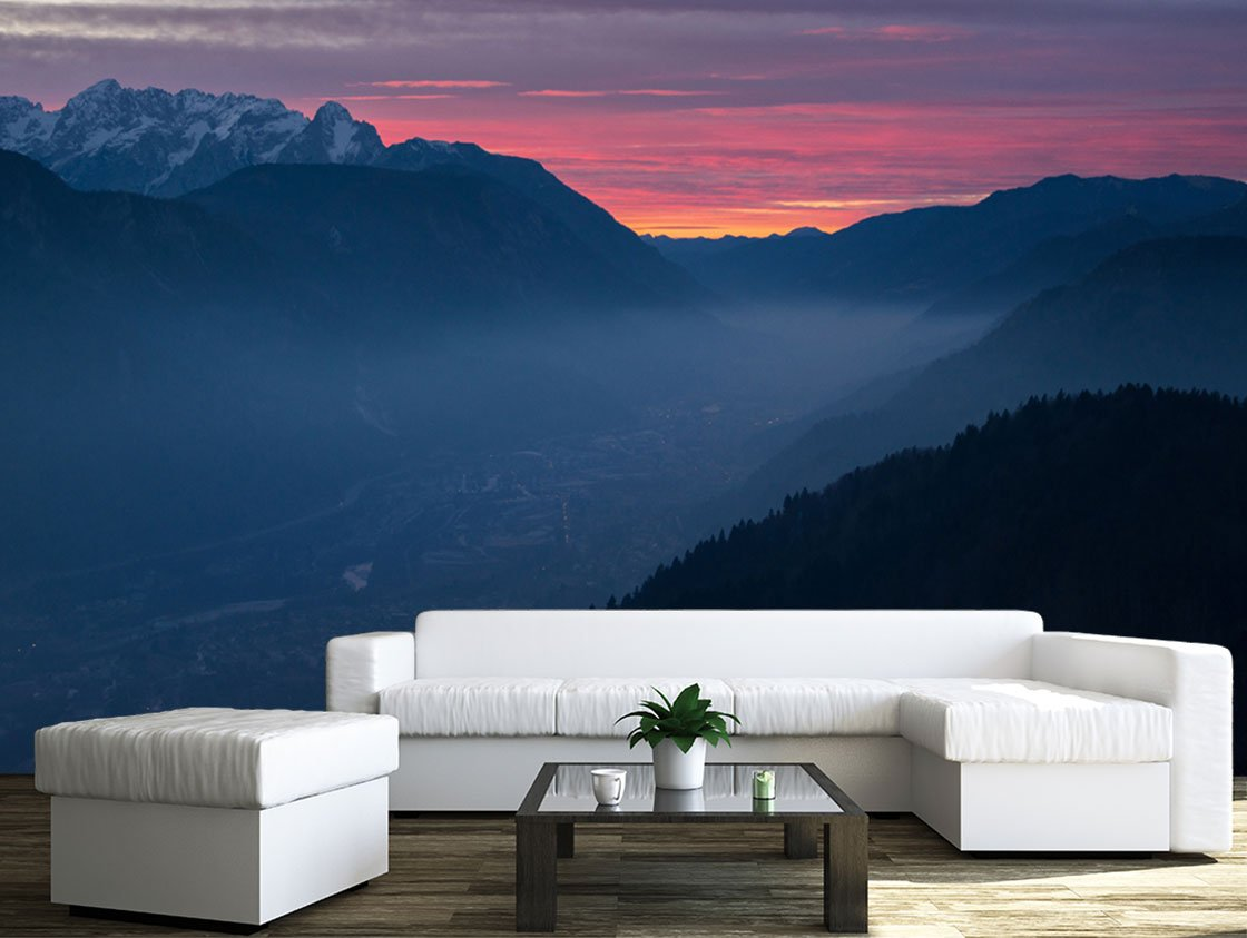 Mountain At Sunset Wall Murals Wall26
