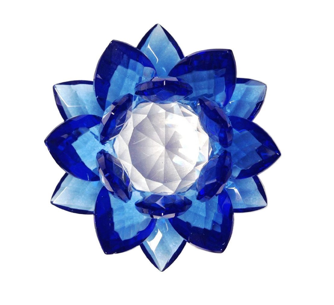 Amazon amlong crystal 3 inch sapphire blue crystal lotus amazon amlong crystal 3 inch sapphire blue crystal lotus flower feng shui home decor with gift box home kitchen dhlflorist Images