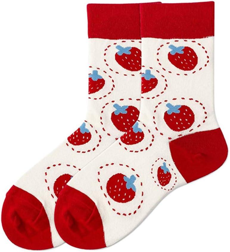 BUIDI Chaussettes en Coton Kawaii pour Femmes Mignonnes Chaussettes pour /étudiantes /à imprim/é Fruits Fraise