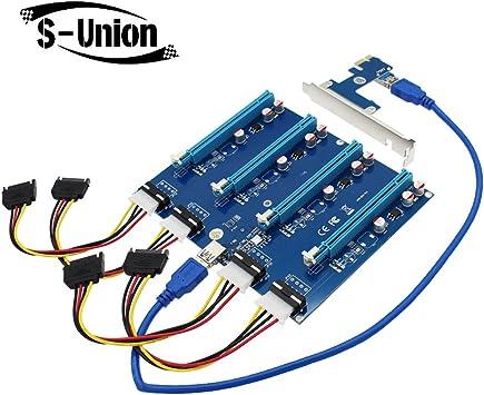 PCI-E X1 TO 4PCI-E X16 Expansion 1 to 4 Port PCI Express Switch HUB Riser Card
