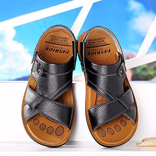 Sommer Das neue Männer Freizeit Sandalen Männer Atmungsaktiv Gemütlich Strand Schuh Echtleder Sandalen ,schwarz,US=7,UK=6.5,EU=40,CN=40